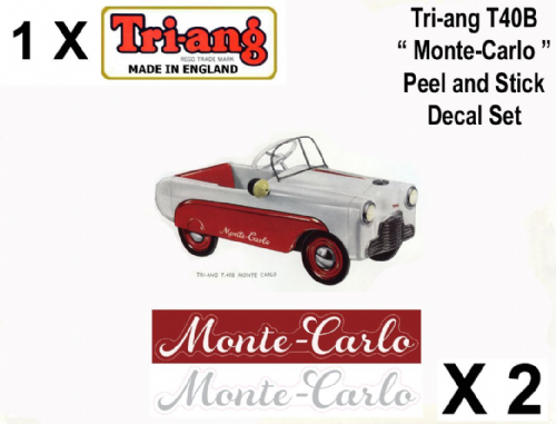 "Set decals "" Peel and stick "" for the Tri-ang T40B ""  Monte - Carlo  "" Pedal Car"